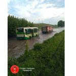 На Рівненщині маршрутний автобус, затопило через сильну зливу