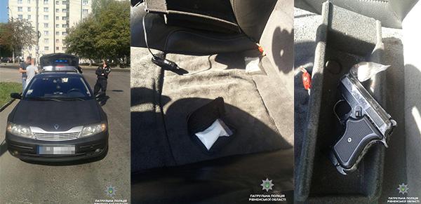 У водія в автівці знайшли наркотики та зброю