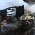 У Сарнах горіла вантажівка з деревним вугіллям
